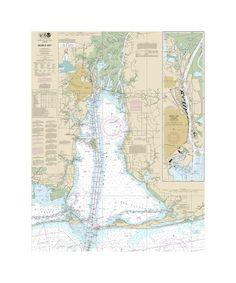 Mobile Bay - Mobile Ship Chanel Northern End Nautical Chart Sailcloth Print