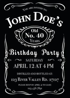 Jack Daniels Birthday Digital Printable Invitation Template