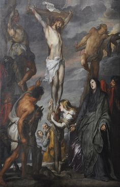 Anthony van Dyck - Christ on the cross in the Sint-Romboutskathedraal Anthony Van Dyck, Sir Anthony, Art Painting Images, Cross Paintings, Life Of Christ, The Cross Of Christ, Catholic Art, Religious Art, Victorian Paintings