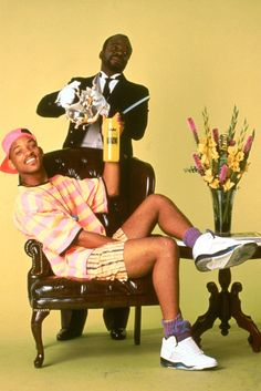 Will Smith aka Fresh Prince of Bel-Air wearing the Air Jordan 5 Grapes, White Fire Red and Black Metallic Silver.