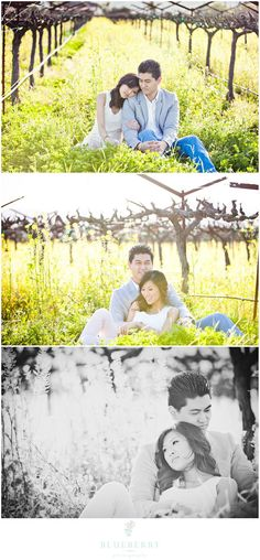 Adorable engagement session sitting in field of flowers photos