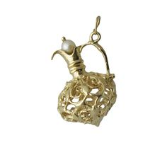 Vintage 14K Gold Etruscan Style Ewer Charm With Pearl, c. 1960s. $295