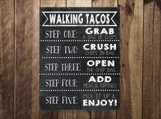 Taco Bar Sign Walking Tacos Sign Make Your Own Tacos Printable Fiesta Weddin Taco Bar, Sweet 16 Parties, Grad Parties, Birthday Parties, Themed Parties, Party Ideas, 50th Party, Party Time, Cinco De Mayo