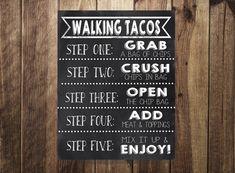 Taco Bar Sign, Walking Tacos Sign, Make Your Own Tacos Printable, Fiesta, Wedding Reception, Sweet Sixteen, Birthday Party,Cinco De Mayo DIY