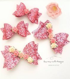 Check out this item in my Etsy shop https://www.etsy.com/uk/listing/619080383/pink-glitter-bows-pink-flower-bow-rose