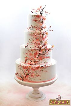 Floral Wedding Cakes Cherry Blossom Wedding Cake - cake by Nasa Mala Zavrzlama - CakesDecor - Painted Wedding Cake, Floral Wedding Cakes, Wedding Cake Rustic, Wedding Cakes With Flowers, Elegant Wedding Cakes, Beautiful Wedding Cakes, Lace Wedding, Flower Cakes, Floral Cake