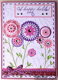 Create with Alyson: February Stamp of the Month Bloghop - A Happy Hello #heatembossing #FloralEmbossingFolder #ShinHan