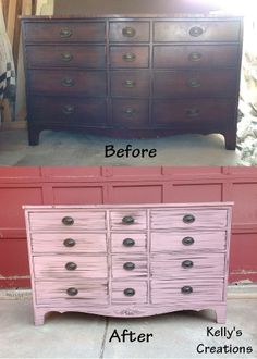 Vintage pink dresser with black antiquing before and after pictures. Refinished by Kelly's Creations. https://www.facebook.com/pages/Kellys-Creations-Refinished-Furniture/524028237619793