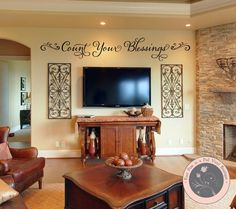 *************** Wall Decals Quote - Count Your Blessings - Family Wall Sign *************** Adding a removable wall decal quote, vinyl Br House, Tv Wall Decor, Decor Room, Wall Decorations, Bedroom Decor, Christmas Decorations, Living Room Tv, Living Walls, Dining Room