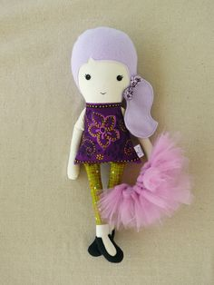 Fabric Doll Rag Doll with Purple Hair and Tutu. $33.00, via Etsy. Aerin loves her, too.