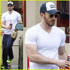 #Chris Evans' Muscles Are On-Display in His Tight White Tee! --- More News at : http://RepinCeleb.com  #celebnews #repinceleb #CelebNews