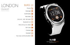 """AppleWatch killer?! ••burG 12•• will it be flummoxed as other pre-AppleWatch desperados: Will.i.am's PULS Oct15 or Moto 360 android etc? • features: calls / sms mms / record audio / calendar / video / cam / audio player / nav / MicroSD card slot / 1.5"""" touchscreen / OS-agnostic! (pairs via BT to iOS or Android) / $25 prepaid SIM, then add own GSM SIM / rechargeable through Micro USB in 1-3hrs for 3hr talk or 4hr media / water + scratch resistant / style: variety of straps + bezels • $200"""