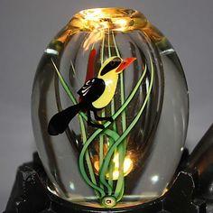VINTAGE ORIENT & FLUME Cased Glass Vase BIRD CATTAILS Paperweight Signed SEAIRA #OrientFlume