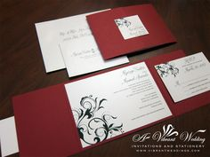 Our DIY tri fold Invitations wedding black diy invitations red