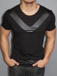 P&V Men Faux Leather V-Pat T-Shirt - Black