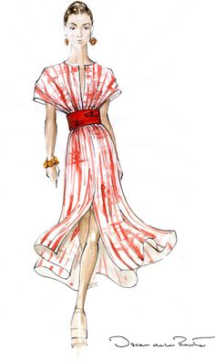 I love how there is a slit opening at the top and on the skirt that are parallel  fashion illustration
