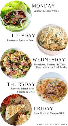 Meal planning menu via Pawleys Island Posh