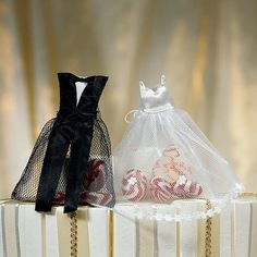 My favorite so far, Wedding Favor Bags shaped to look like the bride's wedding dress.