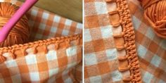 Jazz up some fabrics in your home and learn some new stitches with Kate Eastwood's adorable crochet edging tutorials! Finish off the edges of tea towels and pillow cases with shell, chain loop or curvy lace edging stitches. Crochet Edging Tutorial, Crochet Edging Patterns, Crochet Lace Edging, Crochet Borders, Crochet Squares, Filet Crochet, Easy Crochet, Crochet Stitches, Stitch Patterns