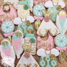 """53 Likes, 3 Comments - Anna Parnell (@cookieoccasions_) on Instagram: """"Boho Chic Baby Shower #sugarcookies #decoratedcookies #customcookies #babyshowercookies…"""""""