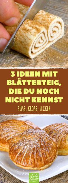 3 Ideen mit Blätterteig, die du noch nicht kennst. Süß, kross, lecker. 3 süße Rezepte mit Blätterteig. #rezepte #blätterteig #muschel #schweineohren #donuts #leckerschmecker
