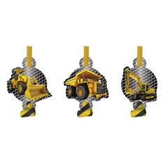 Make some noise with these black and yellow Birthday Construction Zone blowout noisemaker party favors featuring assorted heavy constructions equipment. Perfect for birthday party loot bags. Includes
