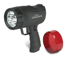 Cyclops CYC-9WS Thor-by-Sirius 9-Watt Rechargeable LED Spotlight by Cyclops. $48.17. From the Manufacturer                The Cyclops Thor-by-Sirius 9W rechargeable handheld spotlight features three 3-watt Luxeon high-power LEDs for long range and six standard Nichia LEDs for immediate area use. Three-hour burn time on high power. Cyclops has consistently been the leader in bringing newly engineered lighting instruments to the outdoor market. Every product goes through extreme, ...