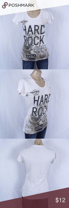 """Hard Rock Cafe Couture T-Shirt Size:  Medium  ~ Cream color t-shirt by Hard Rock Couture. Reads """"Hard Rock Cafe, Hard Rock Couture, Panama, Love All Serve All"""" on front. ~ Measurements: Underarm to underarm 16.5 and length from shoulder to hem 24.5"""" ~ 80% Cotton and 20% Polyester ~ Shirt is in nice condition! Hard Rock Couture Tops Tees - Short Sleeve"""