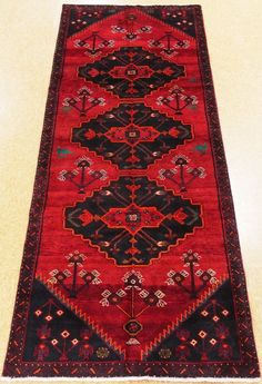 4 x 9 PERSIAN HAMEDAN Tribal Hand Knotted Wool RED Oriental Area Rug Runner #PersianHamedanTribalGeometric