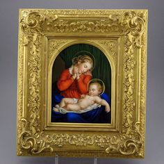 Berlin (KPM) An exceptional painted porcelain plaque ~ Hand painted ~ A RARE subject of Madonna and Child ~  of the Italian quattrocento era ~ Thed plaque is in the original frame ~ Circa 1860