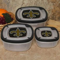 New Orleans Saints 3-Pack Square Food Containers by Football Fanatics. $16.95. Microwavable with top removed. Package of three. Made of plastic. Dishwasher safe in top rack only. Team colors and logo. Keep your food fresh and portable with this 3-pack of plastic food containers featuring a team logo and team colors on the lids. They fit inside each other for easy storage and are ideal for showing off your Saints pride at any tailgate, picnic, or day at the bea...
