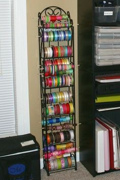 Using a wine rack for ribbon storage. I think this one is my favorite of all the ribbon storage ideas. Craft Ribbon Storage, Craft Room Storage, Craft Organization, Craft Rooms, Storage Ideas, Ribbon Organization, Storage Rack, Dvd Storage, Thread Storage