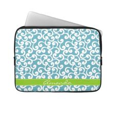 Ocean Monogrammed Elements Print Laptop Computer Sleeves