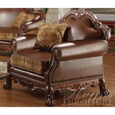 Acme Dresden Chair With Pillow, Chenille Pu Finish by Acme Furniture