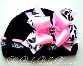 Black crochet Hat Pink and damask Boutique bow.