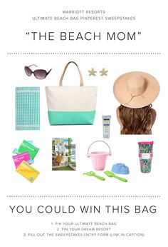 Enter the Marriott Resorts Ultimate Beach Bag Pinterest #Sweepstakes for your chance to win the Beach Mom beach bag prize package or a trip to paradise!