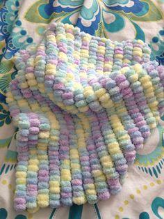 SALE Multi coloured PomPom Blanket for Pram by Snugglescuddles, £20.00