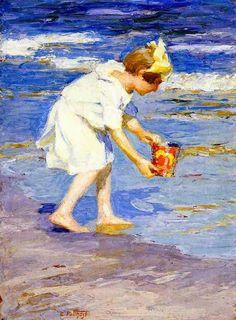 Le peintre américain Edward Henry Potthast est connu pour ses peintures de personnes prenant du bon temps à la plage. En cette période e...