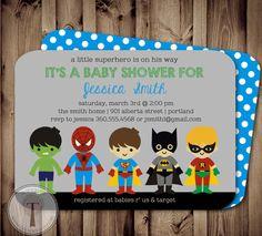 SUPERHERO Baby Shower Invitationsuper hero baby by T3DesignsCo