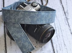 Beautiful French blue camera strap on Etsy at The Sweet Strap