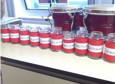 IB Attitude Jars! Students put name in appropriate jar when they've seen someone display that attitude. Draw a name at the end of each unit.