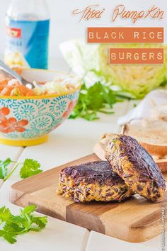 Thai Pumpkin Black Rice Vegan Burgers Recipe - these divine vegan and gluten free burgers are packed full of flavour. Top with your favourite slaw and sweet chili sauce | Get the recipe at DeliciousEveryday.com