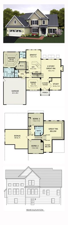Cape Cod House Plan 54080 | Total Living Area: 2256 sq. ft., 3 bedrooms and 2.5…