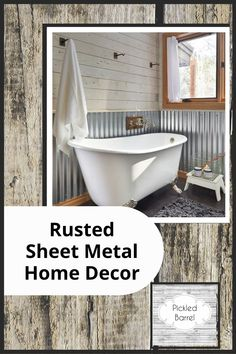 Pickledbarrel.com has the best ideas for a modern rustic home. Make the most out of old items by repurposing them as decor! Find out how you can use rusted sheet metal in your home today! Diy Home Decor Projects, Fall Home Decor, Home Decor Kitchen, Farmhouse Interior, Modern Farmhouse Decor, Sheet Metal Backsplash, Modern Rustic Homes, Metal Ceiling, Reclaimed Wood Furniture