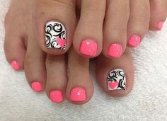 27 Gorgeous Toe Nail Art Designs that You Should got to Have. Simple Toe Nails, Pretty Toe Nails, Cute Toe Nails, Summer Toe Nails, Toe Nail Art, Summer Pedicures, Nail Nail, Cute Toenail Designs, Pedicure Designs