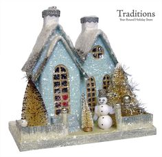 """Cody Foster Reproduction SMALL WINTER BLUE HOUSE 62 W/DOVES Paper Pulp 10x10.5x8"""""""
