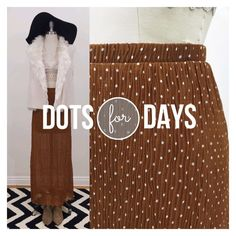 •F21• Polka dot maxi skirt rust color F21 rust maxi skirt with white polka dots.  Elastic waist so you can enjoy a large meal.  Polka dot fabric is sheer with a rust mini skirt lining.  Fabric is naturally wrinkled so it is perfect for travel.  Pair with crop top, a fur vest and layered necklaces for the ultimate festival look.  100% polyester. Forever 21 Skirts Maxi