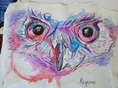 Owl in the style of Abby Diamond Gcse Art, Natural Forms, Textiles, Birds, Owl Bird, Diamond, Nature, Fictional Characters, Image