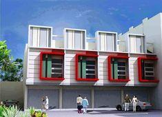 60 Desain Ruko 2 Lantai Minimalis dan Modern | Desainrumahnya.com Two Storey House Plans, Townhouse Designs, Simple House Design, Architecture, Building Design, Floor Plans, Mansions, House Styles, Rustic
