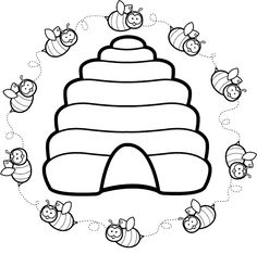 Free Beehive Clip Art of Beehive vintage bee hive clipart image for your personal projects, presentations or web designs. Bee Coloring Pages, Animal Coloring Pages, Coloring Books, Bee Embroidery, Embroidery Patterns, Quilt Patterns, Bee Crafts, Preschool Crafts, Bee Clipart